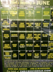 The month's line-up...also known people I did not know made a living off of music.