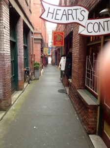 The narrowest street in the world, and a bonus piece of my finger.