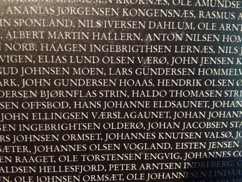 Oh, this is a close-up of the names of people who died here. The blurry picture is from a distance.
