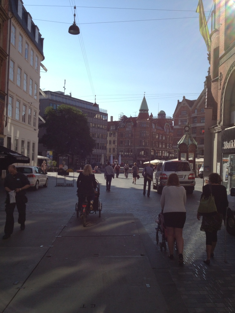 Rush hour in CPH. The lady just left of center is carrying her two kids in a cargo bike.