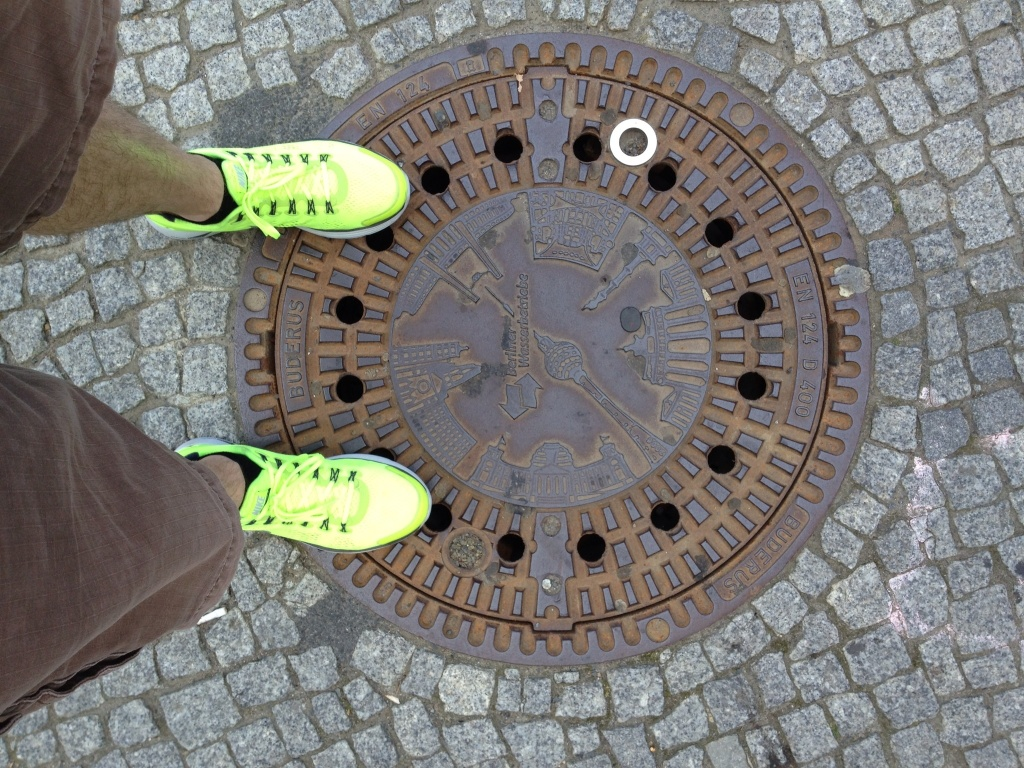 Berlin's man-hole covers are world-class, but they have never seen shoes this ugly.