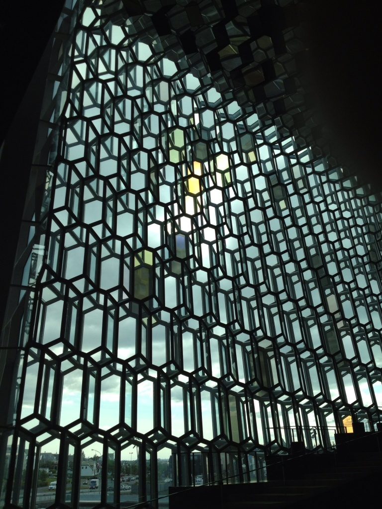 The colored glass is designed to make different effects as the sun shines through.