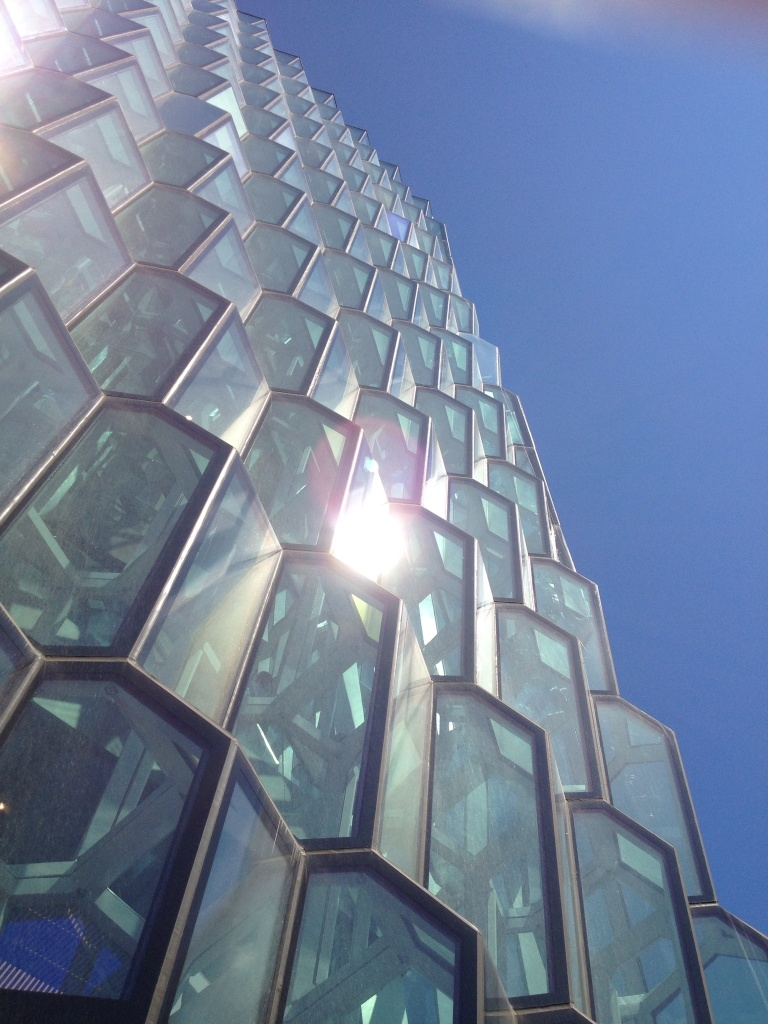 The glass was modeled after the hexagon shaped rock formations found all over Iceland.