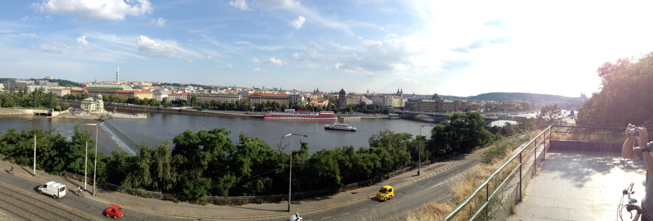 The Vltava River cuts through Prague.