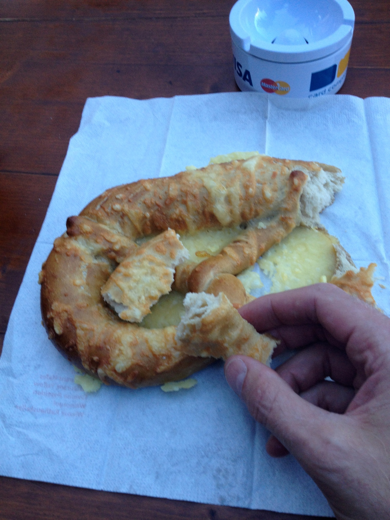 Large cheese pretzel...maybe not such a good idea.