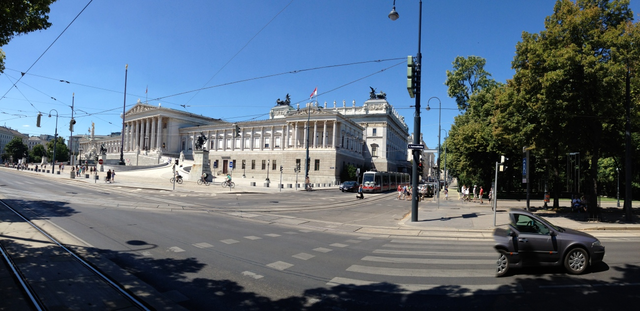 The Austrian Parliament building, not to be confused with George Clinton and Parliament Funkadelic.