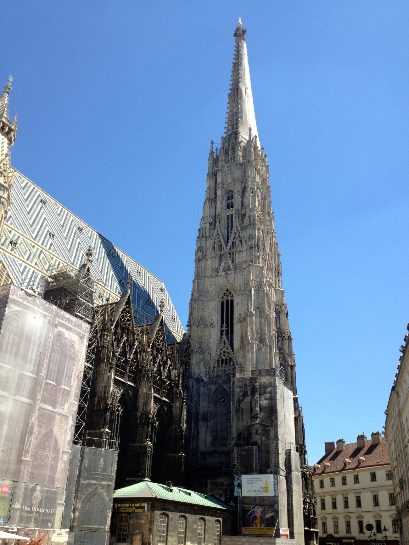 The big spire and its fancy roof.