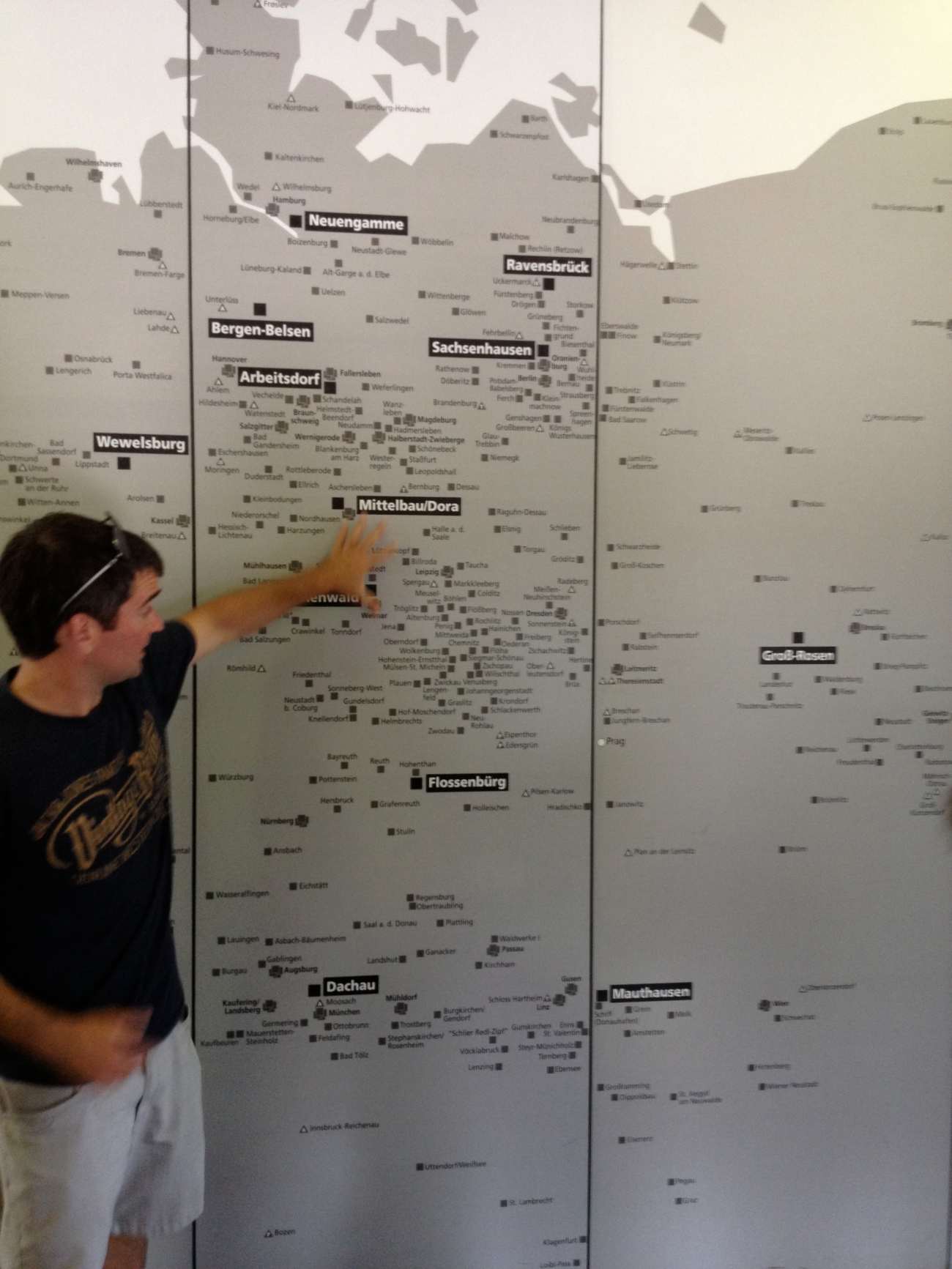James and a map of the concentration camps.