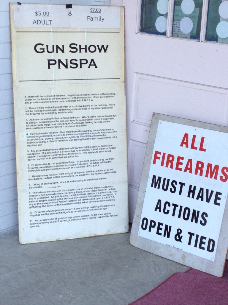 Where are the most rules about guns? A gun show.