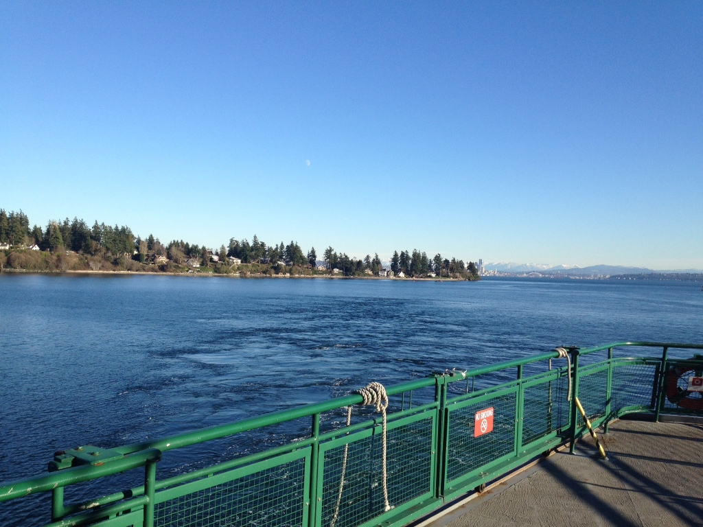 On a nice day, this is what it looks like before leaving Bainbridge. On a not nice day it looks like a grey blanket.