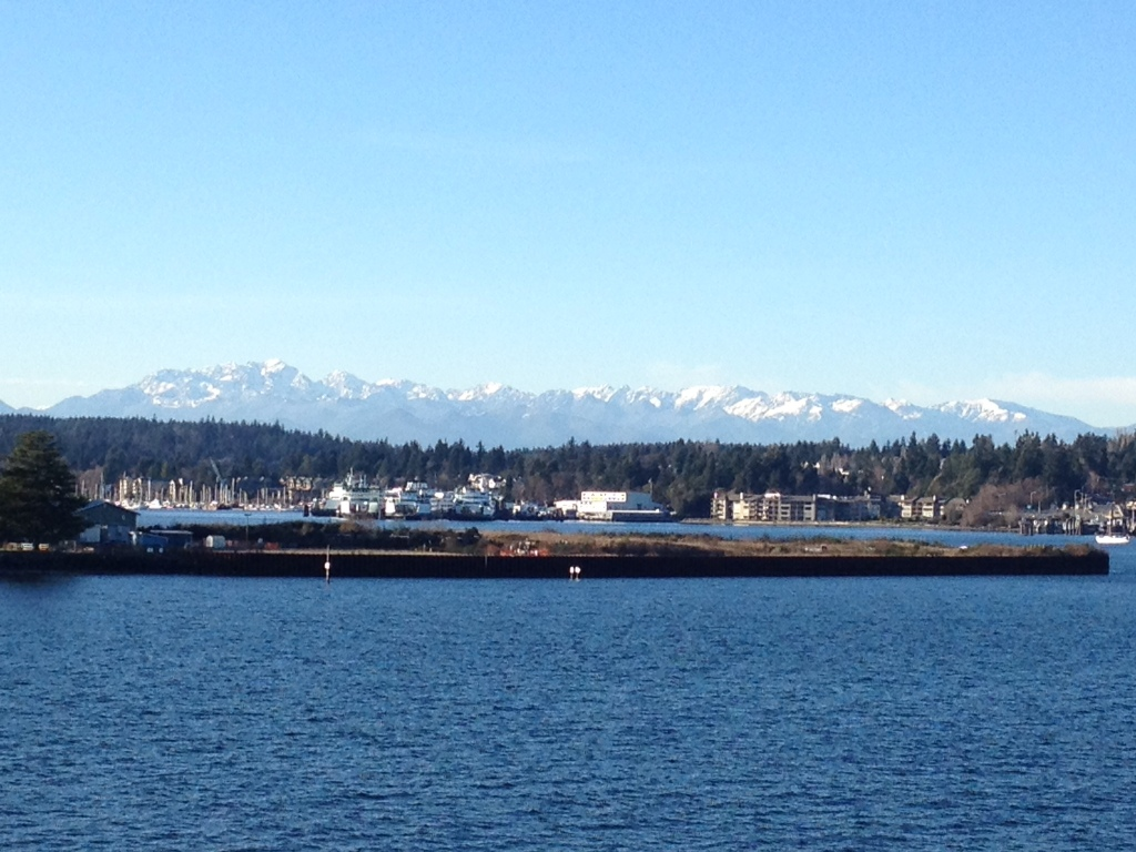 Now, turn around and see the Olympic Mountains. This is near my underground bunker.